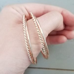 Rose Gold Rope and Smooth Hoops Earrings